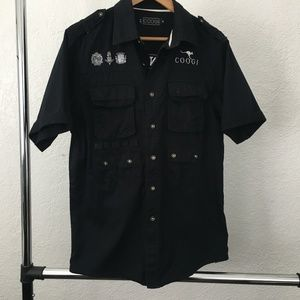 Coogi Running Game S/S Button Front Casual Shirt M